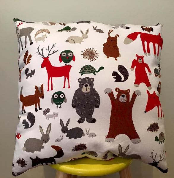 "W O O D L A N D   Animal Pillow Decorative pillow, nursery decorGorgeous woodland animal design - bear, fox, deer, owl...17"" x 17""Black felt on back"