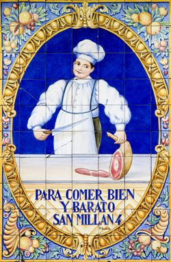 comercios centenarios || Azulejos de la Taberna Oliveros (San Millán, 4)