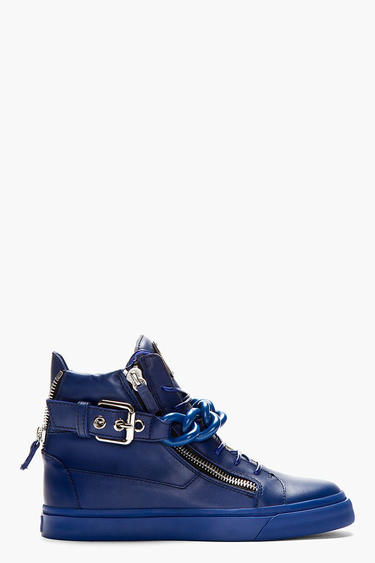Giuseppe Zanotti Blue Chain High Top Sneakers for men | SSENSE