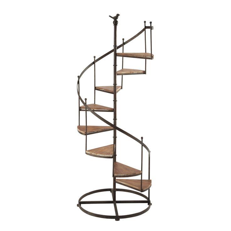 CASTELLANE houten en metalen trapvormig opbergrek verroest effect H 133 cm