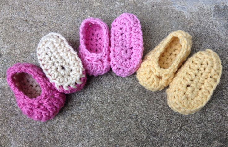 3 Pairs Baby Booties Newborn to 3 Months Pink Pale Yellow Crochet Girls | eBay