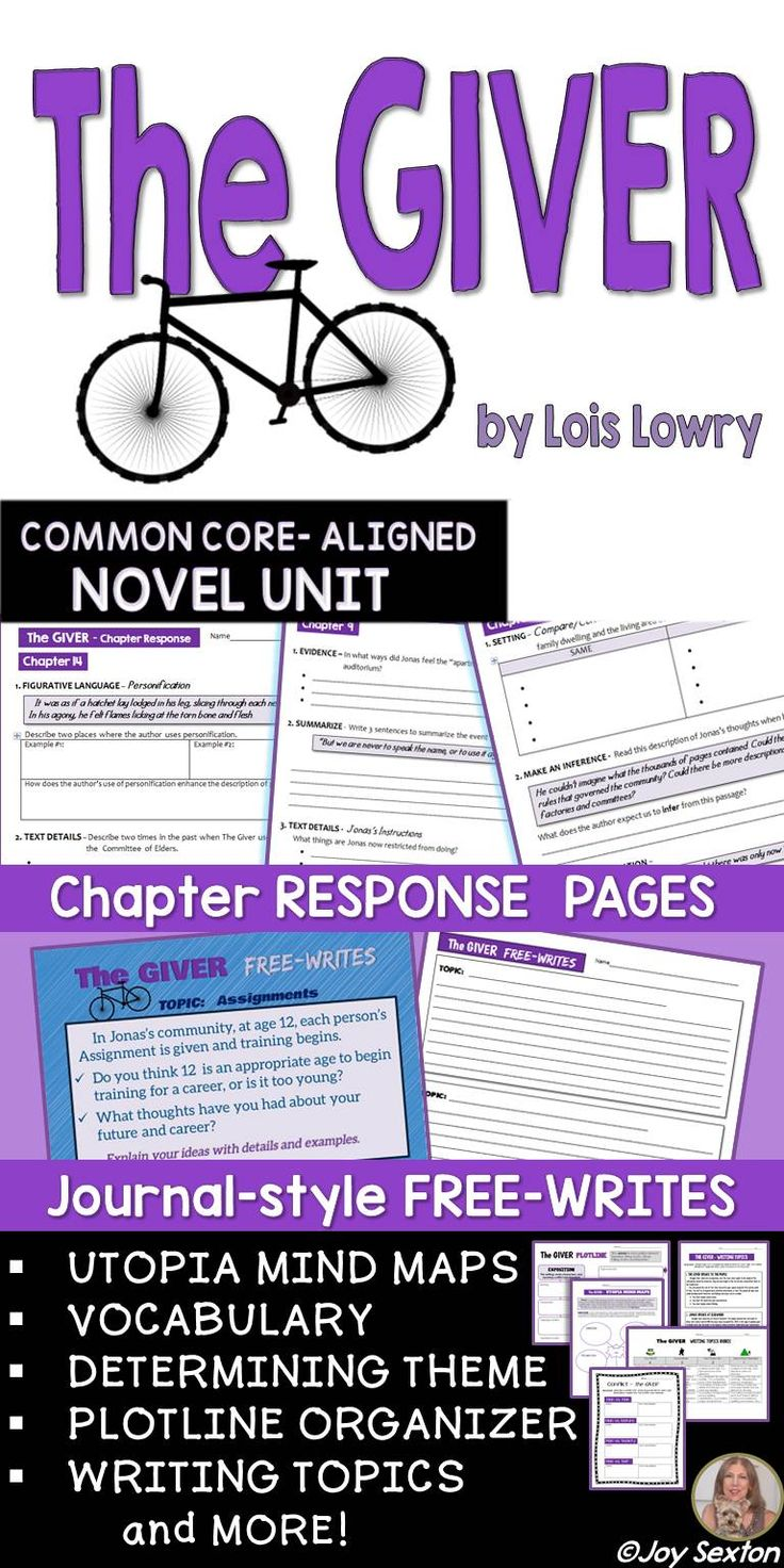 Giver Novel Unit - Common Core Aligned - This attractively-designed resource will provide your students meaningful practice with Common Core skills while reading Lois Lowry's The Giver. Chapter-by-Chapter Response Pages keep students engaged and close reading. Journal-style Free-writes facilitate great discussion. Differentiate with Writing Topics and the Illustrated Quotation assignment, which makes a beautiful display!