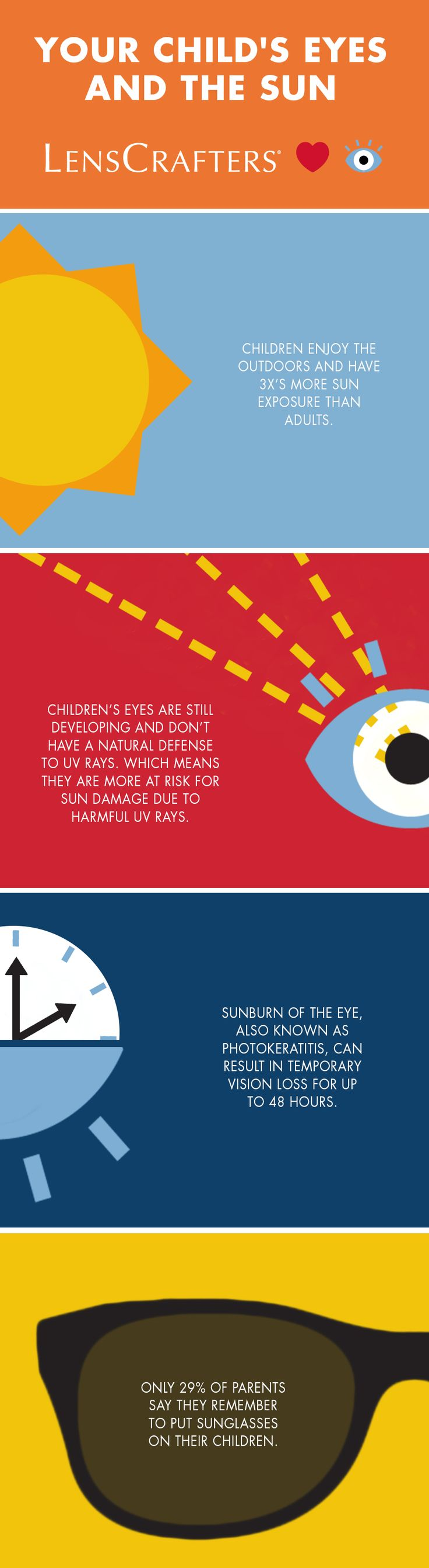 Summer means more time outdoors and more sun exposure, opening up more chances for eye damage from unfiltered UV rays. Make sure your child's eyes are protected with a pair of sunglasses this summer.