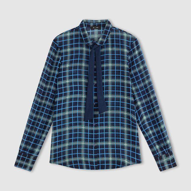 Chemise lavallière à carreaux