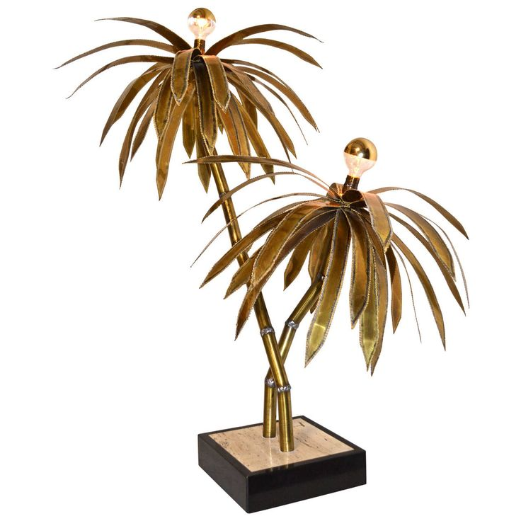 Maison Jansen Attributed Brass Palm Tree Lamp | From a unique collection of antique and modern table lamps at https://www.1stdibs.com/furniture/lighting/table-lamps/