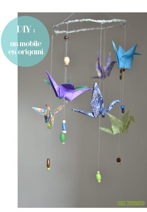 diy, fabriquer, Idée pour faire un mobile pour bébé avec des grues en origami