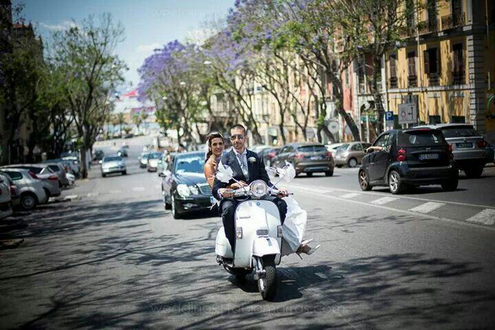 Wedding on Vespa on Cagliari
