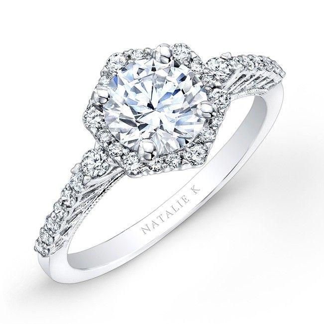 14k White Gold Hexagon Halo Diamond Engagement Ring
