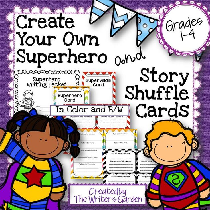 """Create your Own Superhero and Story Shuffle Cards"" is a hands-on character activity that you can easily use with your students and adapt in preparation for writing superhero stories. Included: 4 Sets of Superhero/Villain Cards to create characters, and a Superhero Writing Packet (with character webs, story map, and writing paper)."