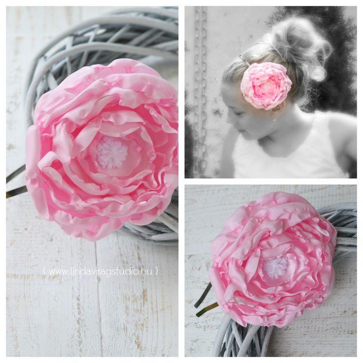#pink #satin #flower #headband #kids #fashion #photography