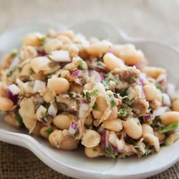White Bean and Tuna Salad -- BP: Definitely needs more seasoning but a good light lunch alternative.