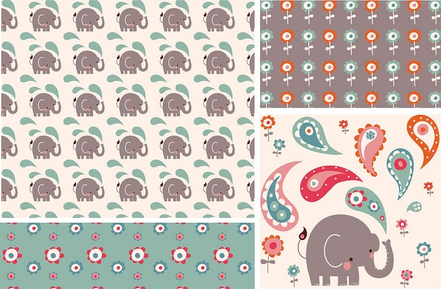 Bora's newest collection. SUPERcute; elephants and paisley!