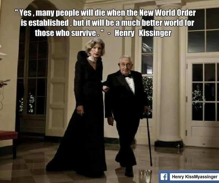 Kissinger on the NWO. NOTE  Disgustin bastard. I guess he will not be one of those that will have to die nor anyone in his family.