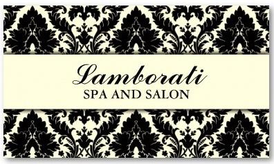 Elegant Damask Floral Pattern Cream Modern Stylish Business Card Template