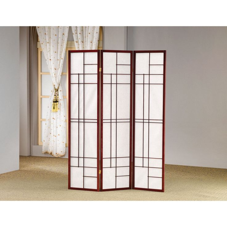 Coaster Company Cherry Wood/Fabric Geometric Folding 3-panel Screen (Cheryr), Brown
