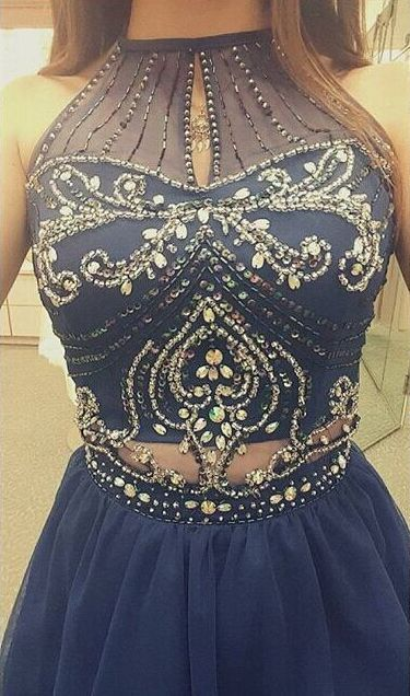 Blue Beading High Neck Zipper Short Prom Dresses 2017