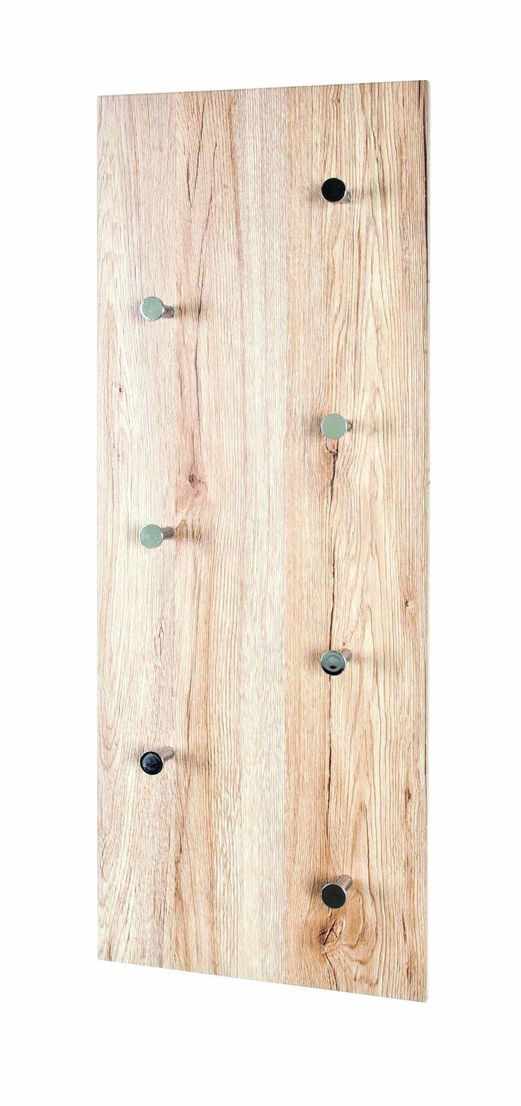 HAKU Möbel 42950 - Perchero de pared, 80 x 5,5 x 30 cm, roble San Remo, cromo, níquel: Amazon.es: Hogar