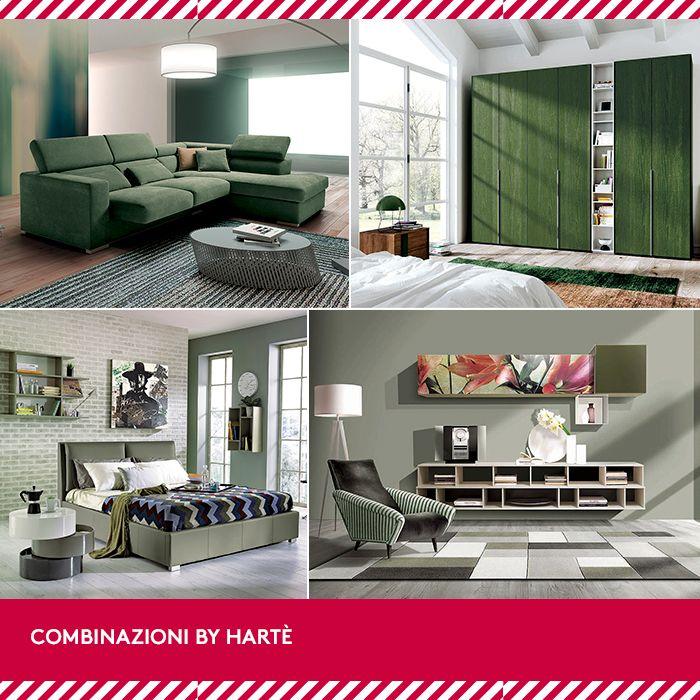 Un tocco fresco all'arredamento, con la nuova combinazione by Hartè! Sfrutta tutte le sfumature di verde con il letto LAILA, il soggiorno OPEN, l'armadio SATELLITI e il divano STRIKE!