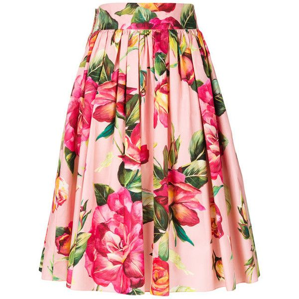 DOLCE GABBANA Floral Circle Skirt (£655) ❤ liked on Polyvore featuring skirts, flared floral skirt, pink skirt, floral circle skirt, floral skirt and flower print skirt