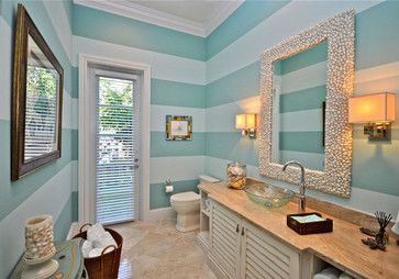 Lighthouse Interiors - tropical - bathroom - miami - Lighthouse Interiors  Love the teal color and the stripes. So well done it does not get too busy.