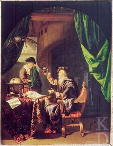 Domenicus van Tol: Piskijkende dokter met patiënt. ca. 1650 - 1676. Particulier bezit. Geïnspireerd op Gerard Dou: Oude vrouw bij de dokter. ca. 1665