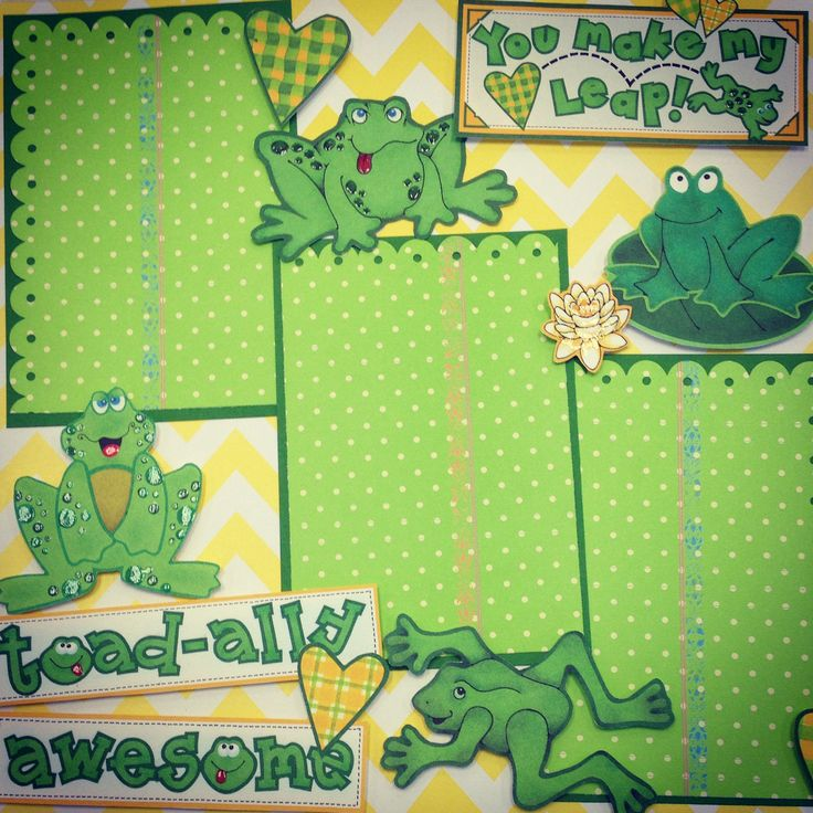 """You Make My Heart Leap"" scrapbook page layout. This cute frog page can be used for boy or girl pictures."