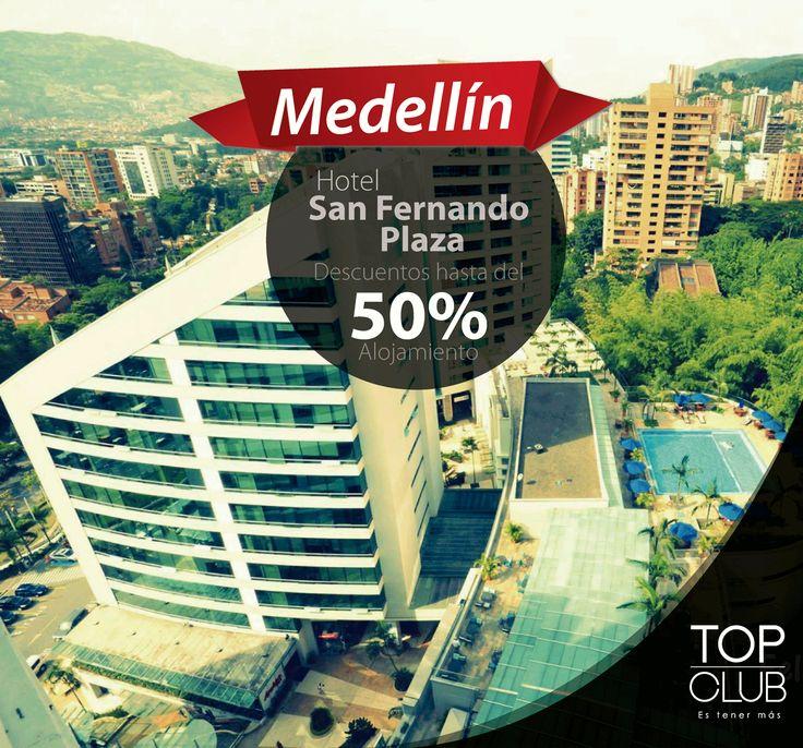"""Si piensas viajar a la ciudad de Medellín te ofrecemos el Hotel San Fernando Plaza, un lugar ideal ubicado en la """"Milla de Oro"""" y a pocas cuadras de la zona rosa. Ven y disfruta de las mejores tarifas en alojamiento, restaurante, eventos y spa presentando tu tarjeta #TopClub"""