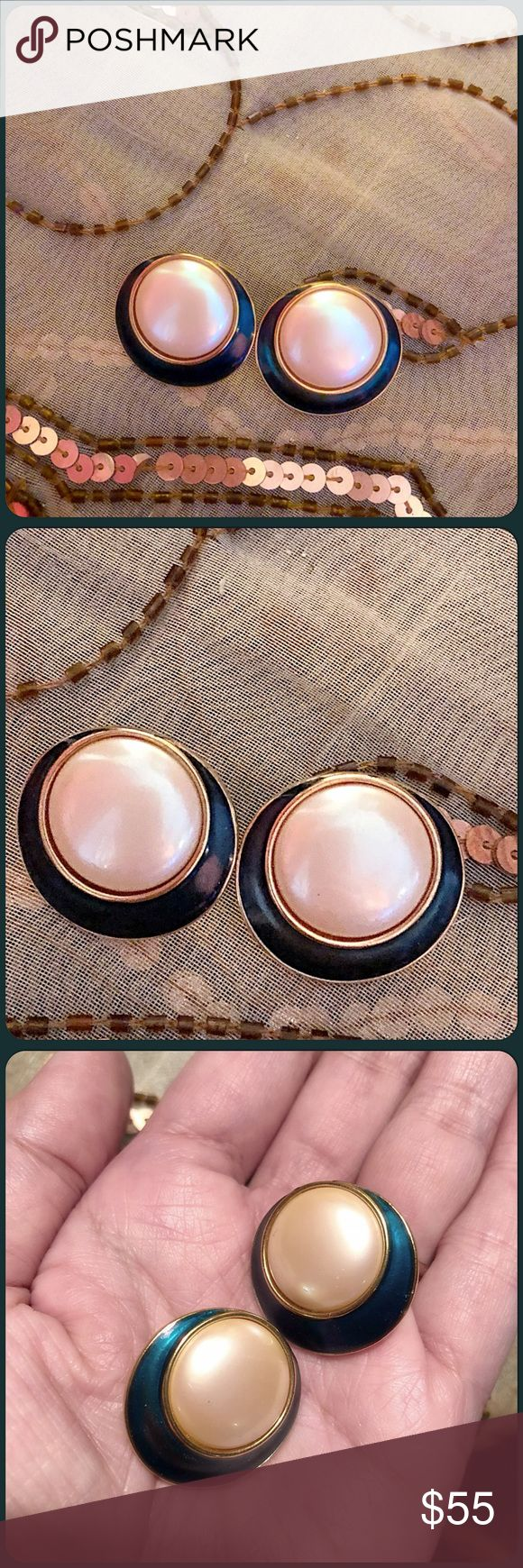 "✨VTG Rare YSL Round Pearl & Teal Enamel Earrings✨ Beautiful vintage YSL earrings from the mid 1980's. Faux pearl center with teal enamel border and gold trim. Truly statement earrings which still are in vogue today! Hallmarked YSL, post backing. 1"" diameter. In great condition and stored away. Pls. only reasonable offers, Thxs. Vintage Jewelry Earrings"
