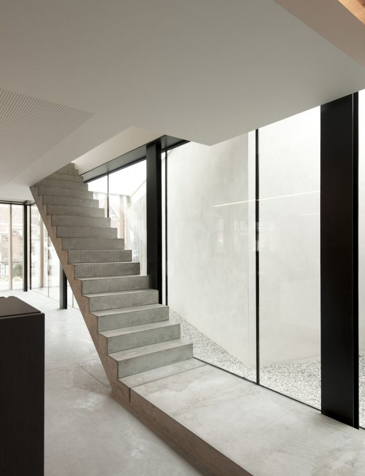 Simple, unadorned prefabricated staircase by Belgian architects Graux & Baeyens.