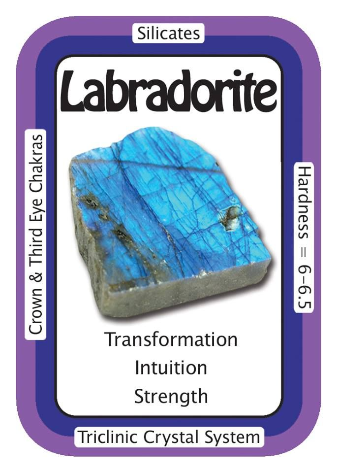 "Labradorite, ""I welcome transformation into my life."" Labradorite heightens intuition and enhances psychic abilities. Illusions are dispelled and true intentions are seen more easily with its use. Use the code HCPIN10 to receive 10% off www.healingcrystals.com/advanced_search_result.php?dropdown=Search+Products...&keywords=labradorite www.healingcrystals.com/Crystal_Information_Cards___Oracle_Decks_1__2_and_3.html"