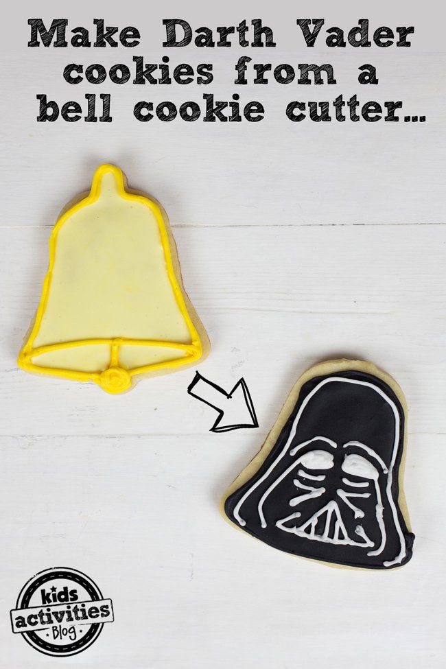 Easily make Darth Vader cookies from a holiday cookie cutter! Such a fun Star Wars treat.