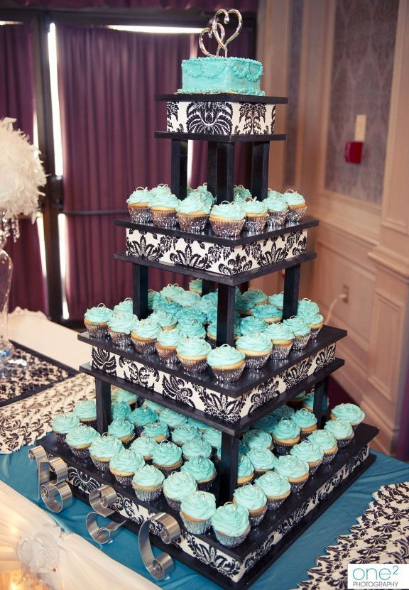 Turquoise cupcake stand with black and white details #weddingcupcakes #cupcakes…