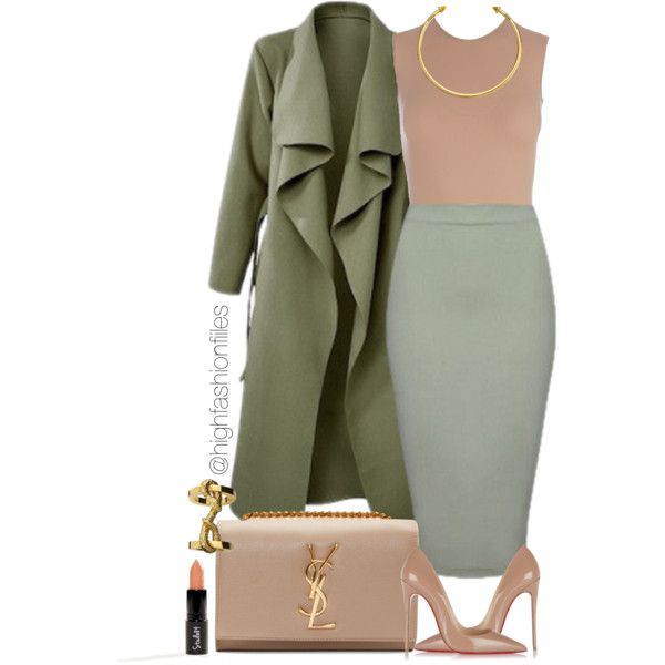 Khaki? by highfashionfiles on Polyvore featuring Maison Margiela, Christian Louboutin, Yves Saint Laurent and OBEY Clothing