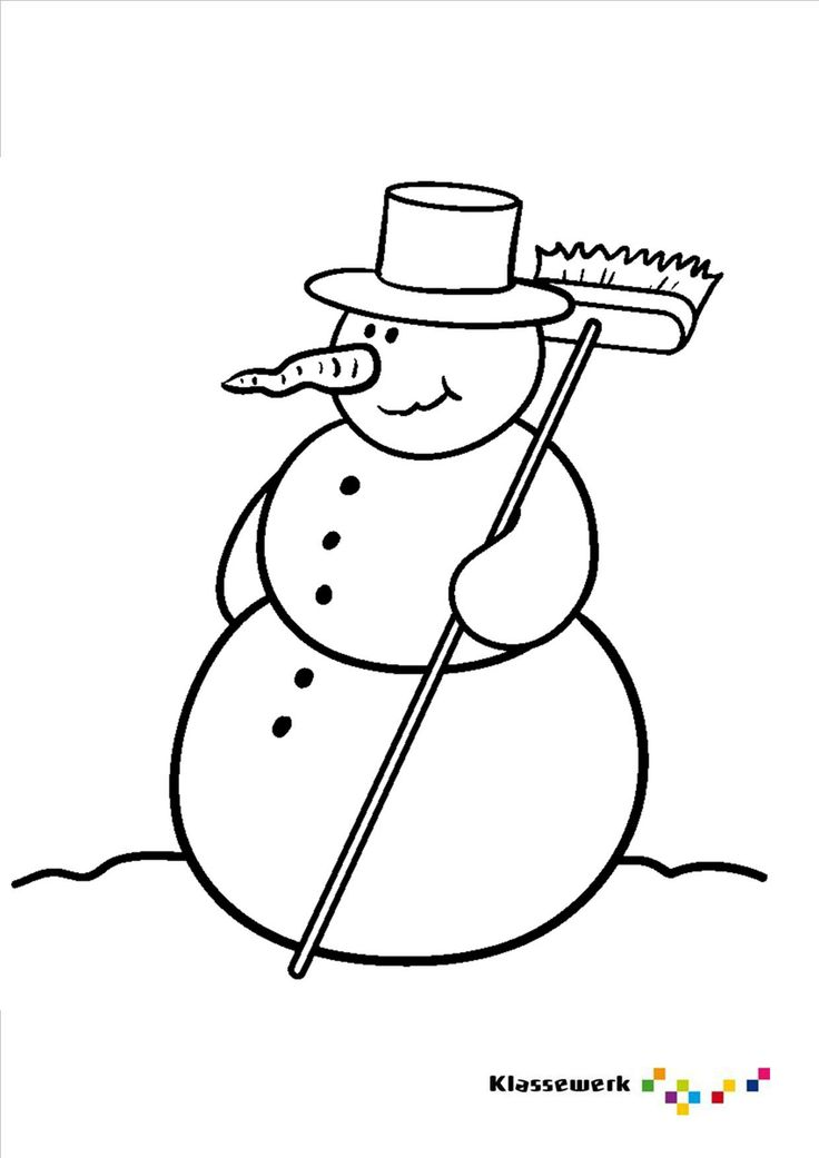 Kleurplaat sneeuwpop