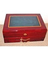 Large Jewelry Box Chest Wood Teal Inlay Glossy  finish  Locking VALENTIN... - $158.28