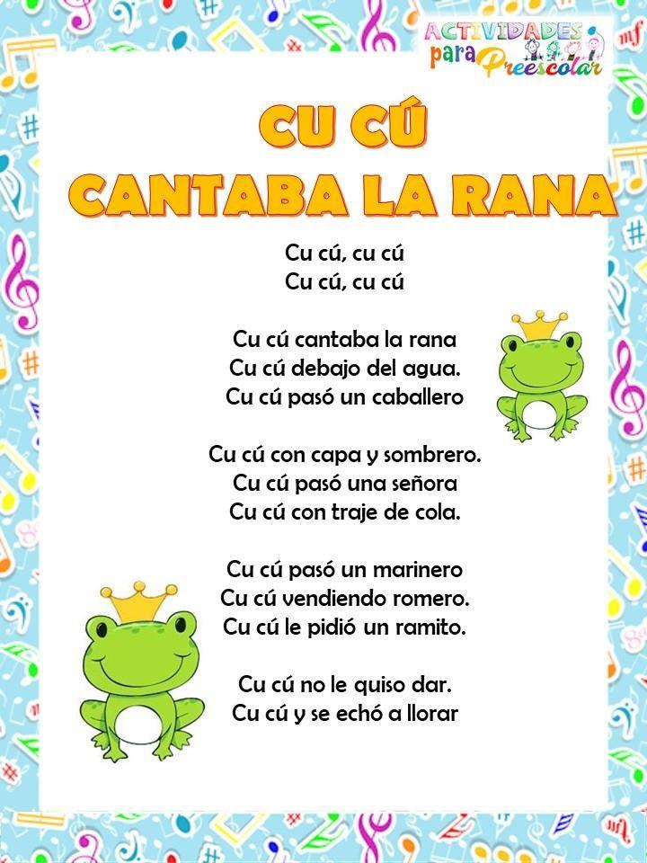 Canciones De Actividades Paa Preescolar 12 Letras De Canciones Infantiles Canciones Infantiles Canciones Preescolar
