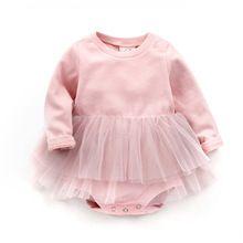 Meisje Jurk Pasgeboren Meisje Jurk Katoenen Baby Rompertjes Voor meisjes Kids Baby Kleding roze kant Baby Meisjes Jurken(China)