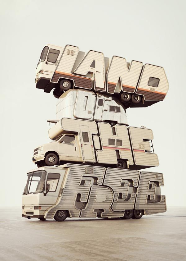 3D typography by designer and illustrator Chris LaBrooy from UK.