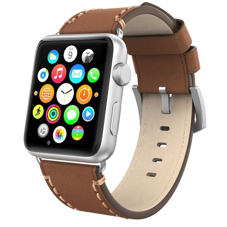 Apple Watch Band 42mm Leather, Swees iWatch Genuine Leather Bands Strap Replacem #Swees