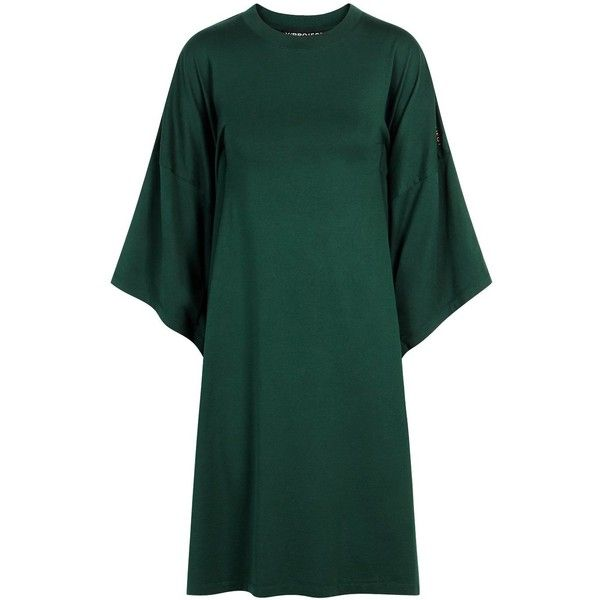 Y/Project Dark Green Cotton T-shirt Dress - Size XS ($290) ❤ liked on Polyvore featuring dresses, cotton tee shirt dress, green embroidered dress, green t shirt dress, sleeved dresses and embroidery dress