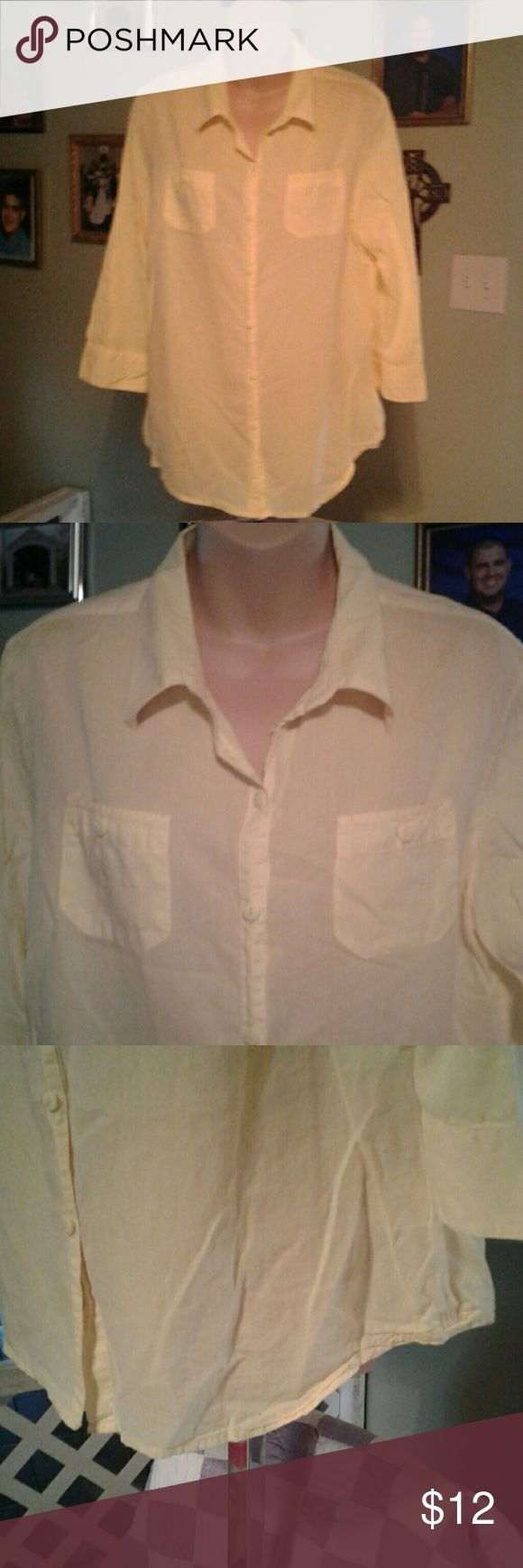 Canyon River Blues Pretty pale yellow sheer blouse that buttons down the front. Material is 100% cotton and the length is approximately 29 inches long. Material is 100% cotton and the length  approximately 29 inches long. Canyon River Blues Tops