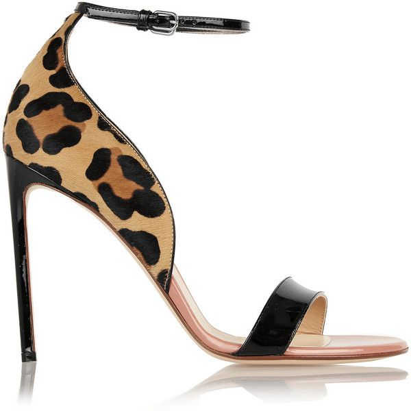 Francesco Russo Leopard-print calf hair and patent-leather sandals (£510) ❤ liked on Polyvore featuring shoes, sandals, heels, animal print, black heel sandals, ankle strap heel sandals, black sandals, high heel shoes and strappy heel sandals