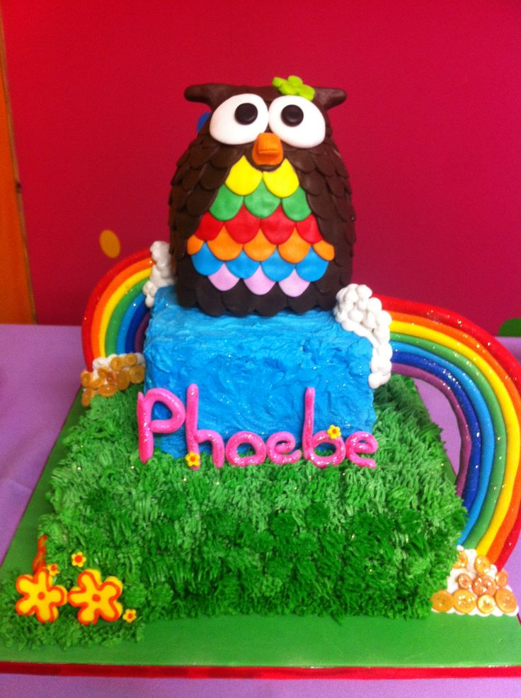 Owl Cake with Rainbows