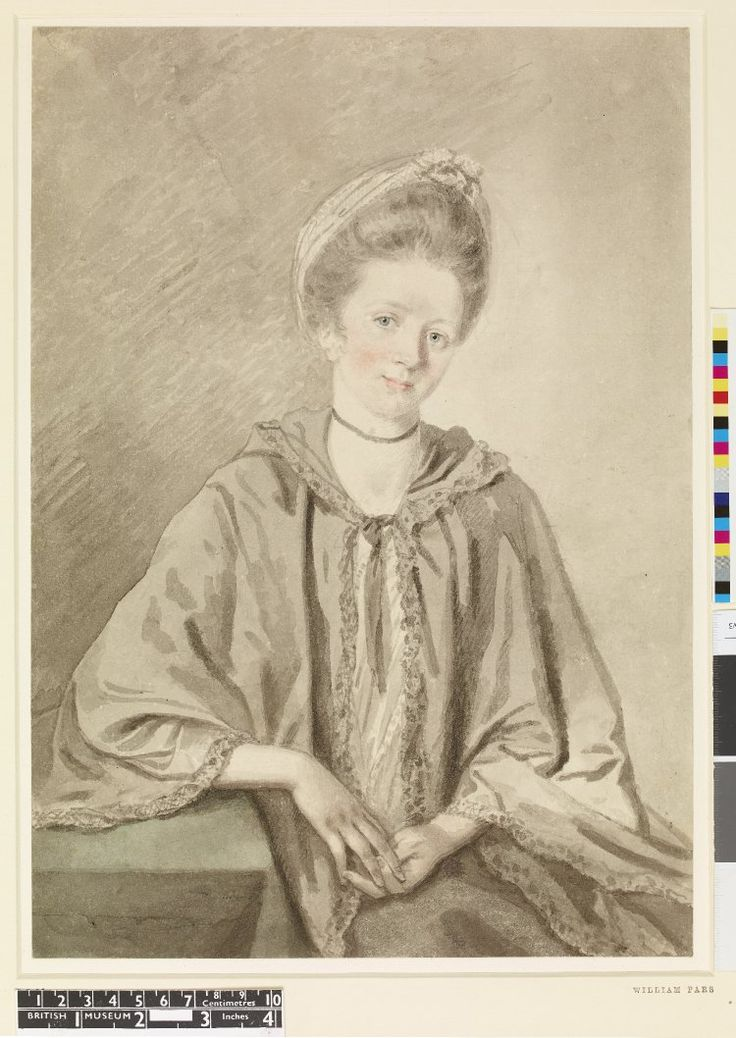 Portrait of Miss Croney of Killarney; three-quarter length standing beside table to left, wearing grey shawl and bonnet, looking to front, head tilted to right, 1770. William Pars (c.1742-1782)