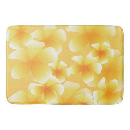 Hawaiian Luau Tropical Floral Yellow Bath Mat - flowers floral flower design unique style