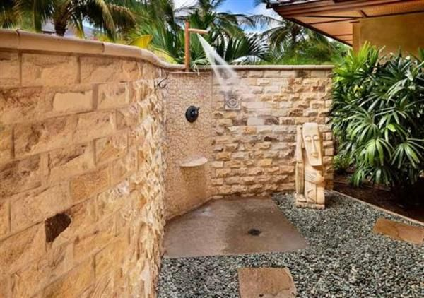 Outdoor shower with plants