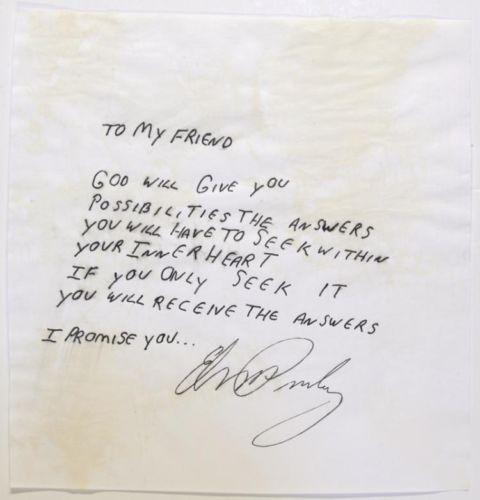 Handwritten Message by Elvis Presley Lot 149