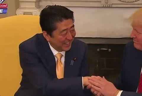 New party member! Tags: donald trump awkward handshake shinzo abe japanese prime minister