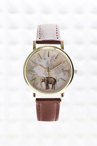 Elephant Map Leather Watch Montre éléphant Femme 2016 #montrestendance2016 #montresfantaisies #bijouxcreateur #elephant