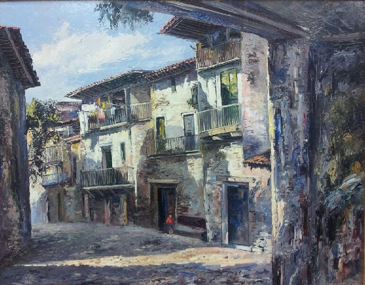 """""""Calle de San Tillana"""" Jose Vives-Atsara,  Oil on board (32"""" x 40"""")  $25,000.00"""